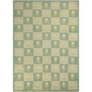 Kafkaz Peshawar Rachael Green/Green Wool Rug - 9'8 X 13'5 For Sale