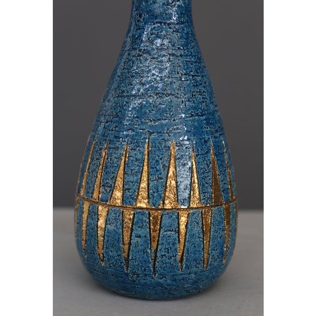 Bitossi Vintage Blue & Golden Ceramic Bottle by Aldo Londi for Bitossi, 1960 For Sale - Image 4 of 7