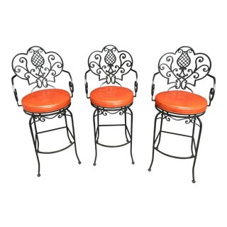 Arte De Mexico Wrought Iron Bar Stools - Set of 3