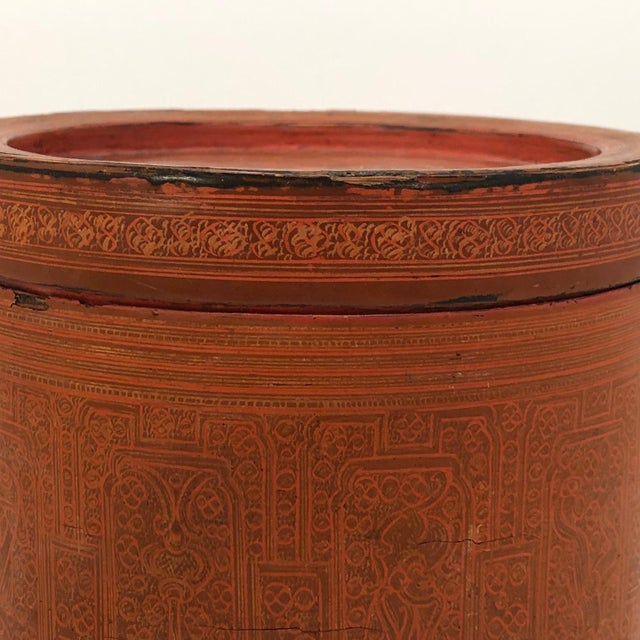 Early 20th Century Early 20th Century Burmese Lacquer Kun-It Betel Box For Sale - Image 5 of 13