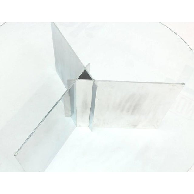 Paul Mayen for Habitat Round Glass Topped Triangular Based Coffee Table For Sale In New York - Image 6 of 7