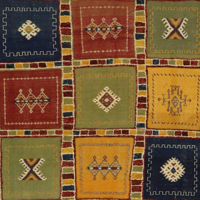 Berber Moroccan Kilim Rug with High-Low Pile, Flat-Weave Rug with Tribal Style For Sale - Image 5 of 8