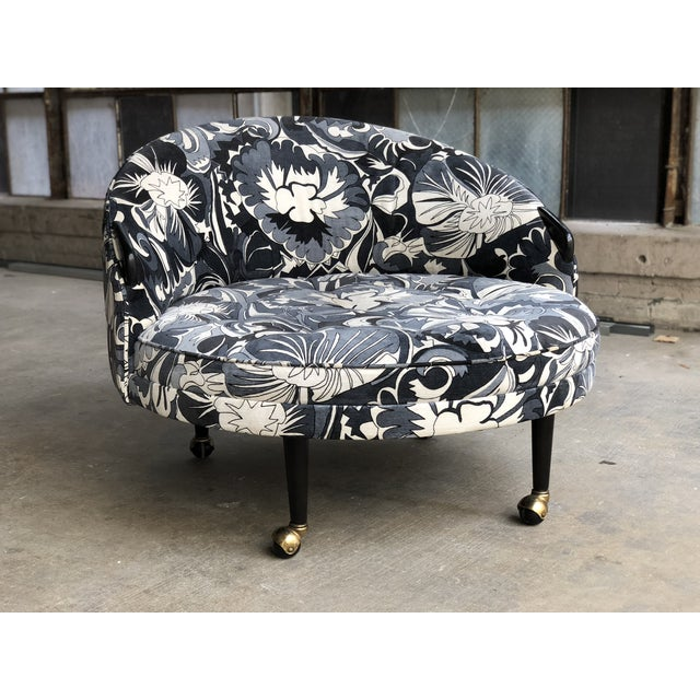 Mid Century Modern Adrian Pearsall Havana Chair for Craft Associates - Fully Restored Tropical Monochromatic Blue Suede Velvet Upholstery For Sale In Milwaukee - Image 6 of 11