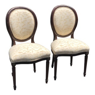 Pair of Antique Empire Balloon Back Chairs W Rose Tarlow Fabric