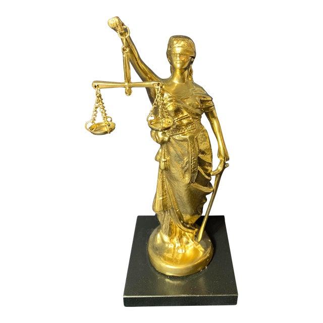 Vintage Blind Justice Gold Metal Spelter Figurine For Sale