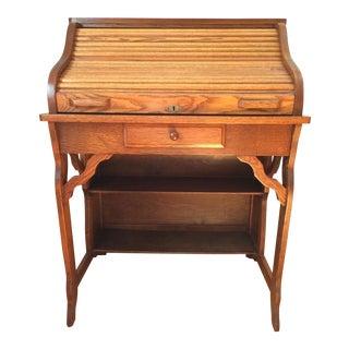 1910s Mission Craftsman Oak Roll Top Desk