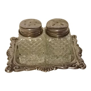 Glass Salt & Pepper Shakers & Tray
