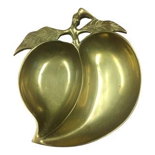 1970s Vintage Brass Apple Trinket Dish For Sale