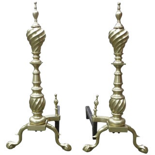 Late Victorian Spiral Chippendale Style Brass Andirons- A Pair For Sale