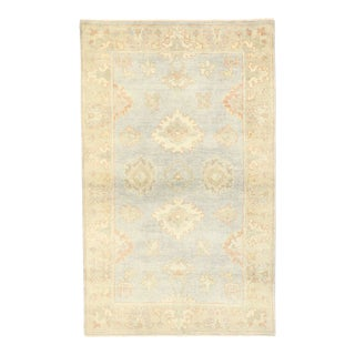 Contemporary Transitional Oushak Rug With Coastal Style - 03'01 X 04'10 For Sale