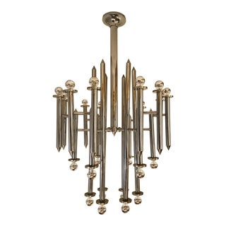 Large Italian Chrome 24 Lights Chandelier by Sciolari, Mid Century Modern, 1970s For Sale