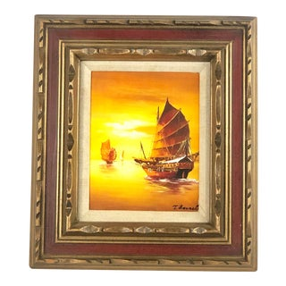Vintage Clipper Ship Wall Art in Ornate Frame For Sale