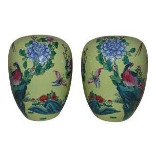 Chinese Yellow Porcelain Birds of Paradise & Butterflies Ginger Jars - a Pair For Sale