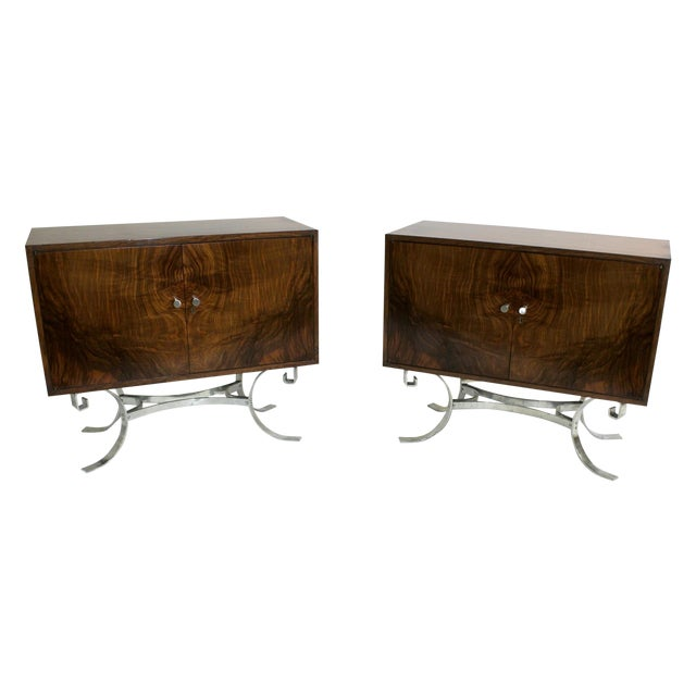 Mid-Century Italian Walnut Cabinets - A Pair - Image 1 of 9