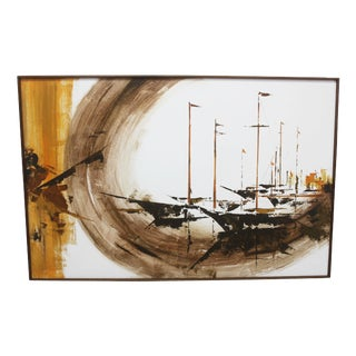 Late 20th Century Original Sailboat Oil on Anco Built Canvas Painting For Sale