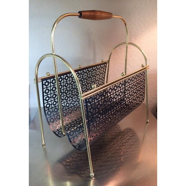 Mid-Century Brass and Black Metal Magazine Rack - Image 4 of 4