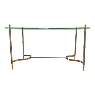 Maison Jansen Brass and Chrome Glass Top Console Table For Sale