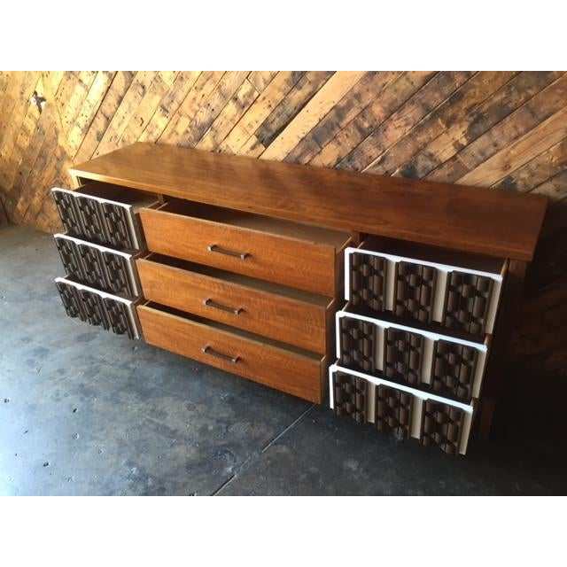Mid Century Refinished Mahogany Brutalist 9 Drawer Dresser - Image 7 of 7