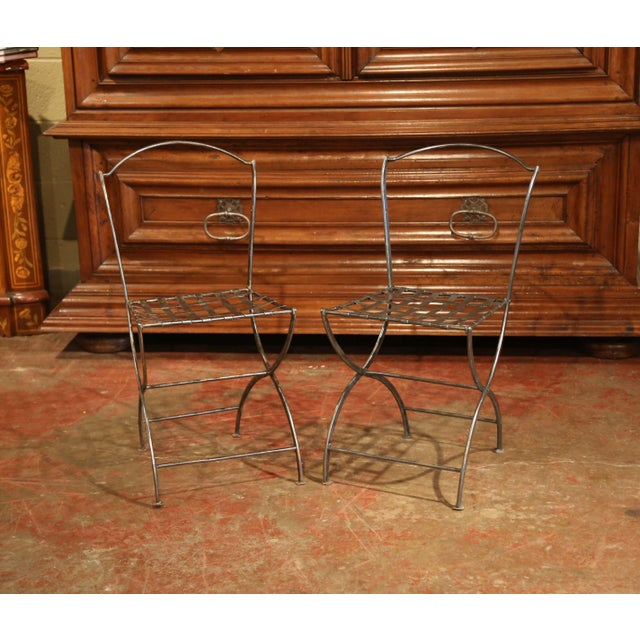 Late 19th Century 19th Century French Polished Iron Bistro Chairs From Paris - a Pair For Sale - Image 5 of 11