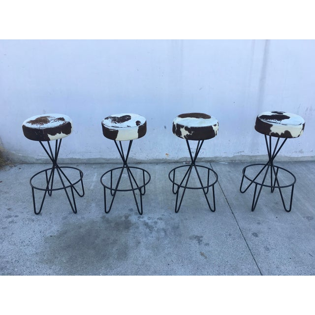 1950s Vintage Paul Tuttle Iron Bar Stools - Set of 4 For Sale - Image 12 of 13
