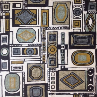 1960s Vintage Mid-Century Modern Geometric Screen Printed Linen Fabric For Sale