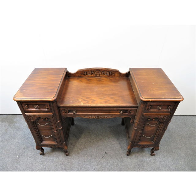 Early 20th Century Louis XV Style Carved Oak Vanity For Sale - Image 5 of 11