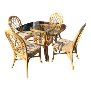 Vintage Boho Chic Bentwood Dining Set - 5 Pieces For Sale