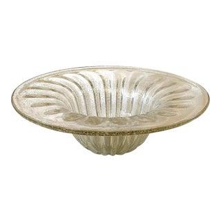 Vintage Mid-Century Pulegoso Murano Glass Centerpiece Bowl For Sale