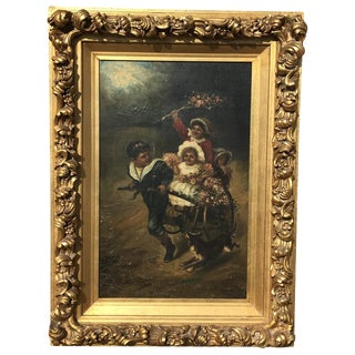 19th Century Oil on Canvas of Children For Sale