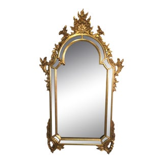 1960s Venetian LaBarge Carved Gold Giltwood Mirror For Sale