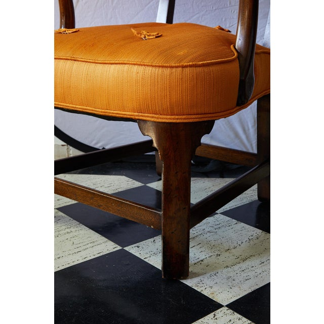 Early 20th Century Mahogany Arm Chair in Vintage Orange Upholstery For Sale - Image 12 of 13