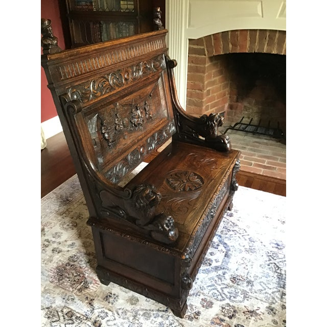 Late 19th Century Antique Carved Oak Bench For Sale - Image 9 of 13