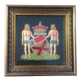 Antique Framed Fabric Embroidered Badges