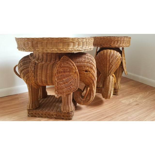 1960s Boho Chic Woven Elephant Tray Tables - a Pair For Sale - Image 9 of 10