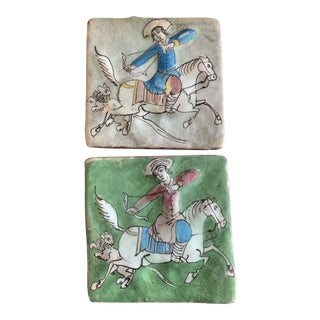 Hand-Painted Ceramic Tiles - a Pair For Sale
