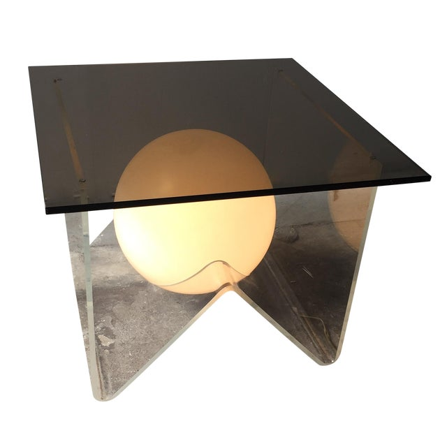 Vintage Lucite and Smoky Glass Lighted Table For Sale