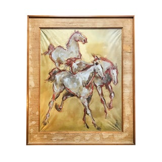 1960s Vintage Signed Shōwa Period Silk Horse Painting For Sale