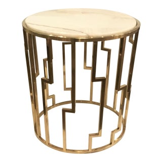 Geometric Marble Top Side Table