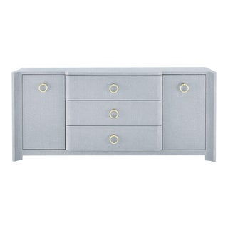 Bungalow 5 Audrey 3-Drawer & 2-Door, Gray Washed Lacquered Linen For Sale