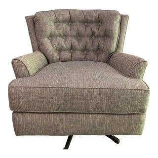 Mid-Century Grey Swivel Armchair For Sale