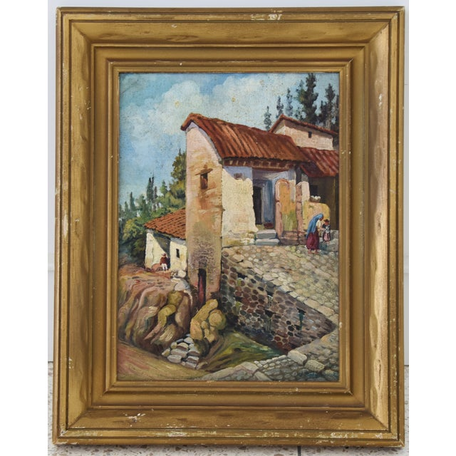 Early 1900s Italian Mediterranean village oil painting on board. Unsigned. Displayed in a gold wood frame. Artwork,...