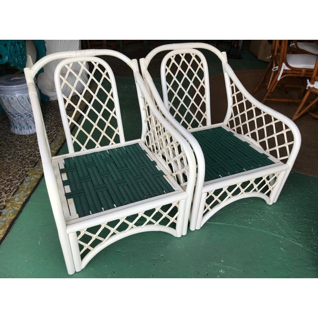 Vintage Coastal Criss Cross Rattan Lounge Chairs-A Pair For Sale - Image 6 of 11