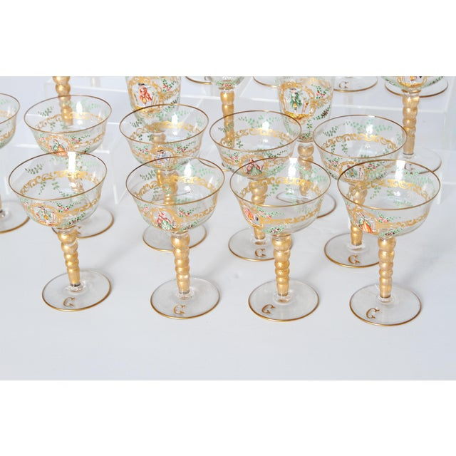 Enameled Venetian Glass Stemware / 23 Piece Group For Sale - Image 11 of 12