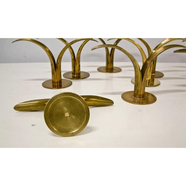 Circa 1950 Grouping of 11 Swedish Ystad Metall Brass Candleholders For Sale - Image 9 of 11