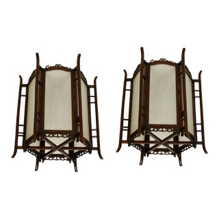 Asian Hexagonal Hanging Lanterns - a Pair For Sale