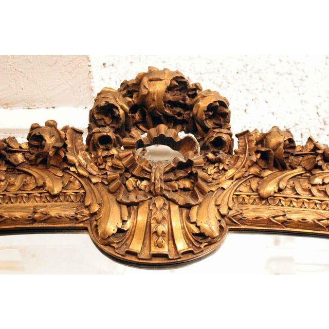 Floral Gilded Over Mantel Mirror For Sale - Image 4 of 4