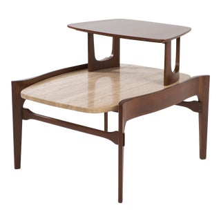 Johnson Furniture Travertine and Walnut Tiered Table After Bertha Schaefer For Sale