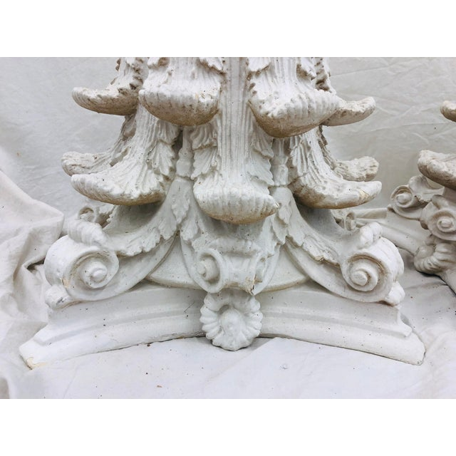 Vintage White Corinthian Style Column Planters For Sale In Raleigh - Image 6 of 13