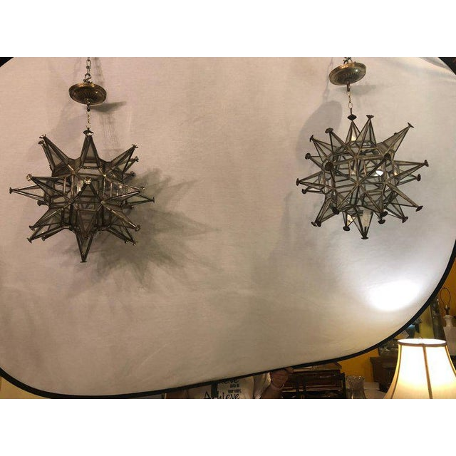 Pair of Sputnik star light fixtures lead glass Art Deco style un-wired (Not). This fine custom pair of lights need a...