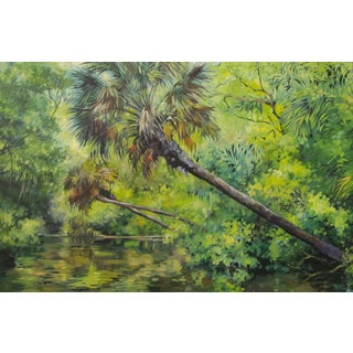 """Blair Framed Oil Painting """"Alexander Springs"""", Contemporary Green Landscape For Sale"""